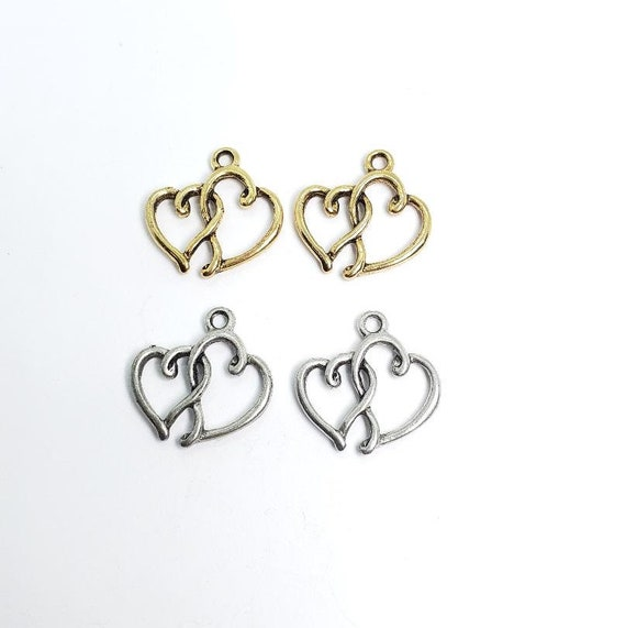 2 Intertwined  Pewter Hearts with Loop, Charm, Love, Friendship, Valentine's Day, Pendant, Romantic, Wine Charm