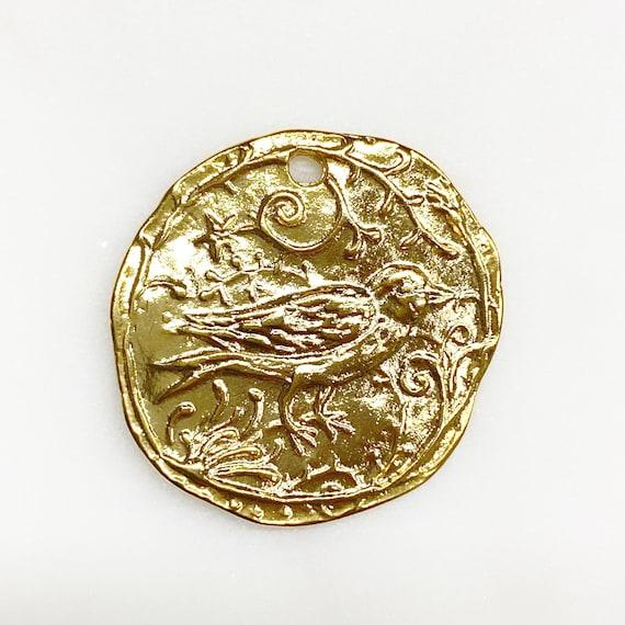 Vermeil Detailed Bird Charm Bird Animal Textured Coin Charm Unique Whimsical Curved Edge Charm