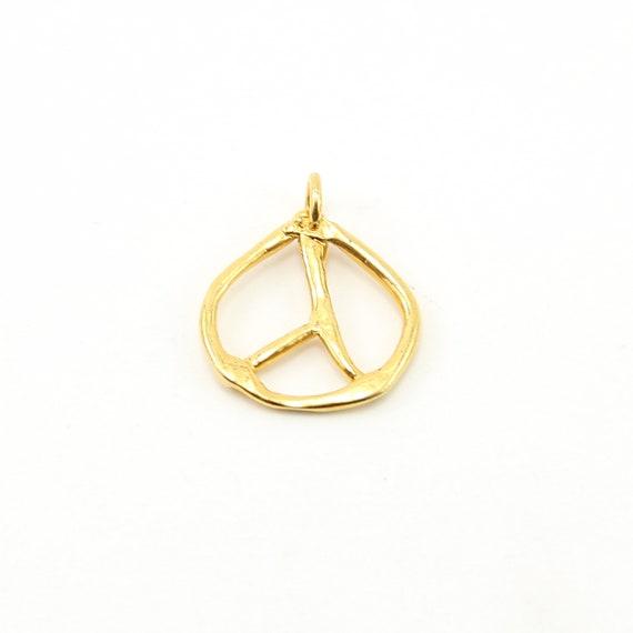 Large Artistic Organic Vermeil Peace Sign Charm Love Hippie Pendant