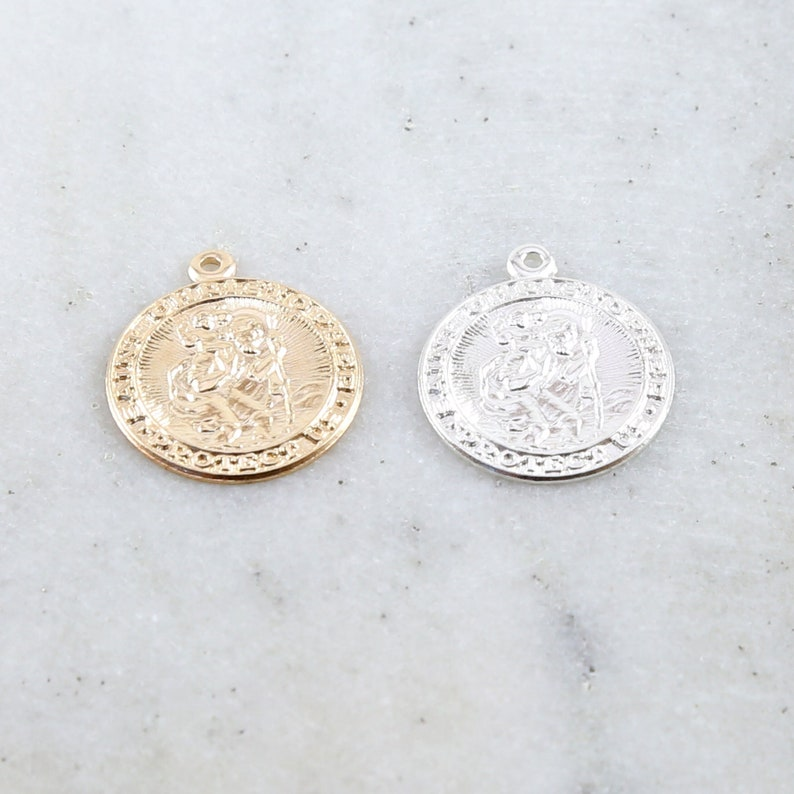 Medium Saint Christopher Simple Round Coin Medallion Pendant image 0