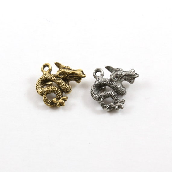 Double Sided Pewter Small Dragon Charm Fantasy Medieval Magic Mystical Creature Pendant in Antique Gold, Antique Silver