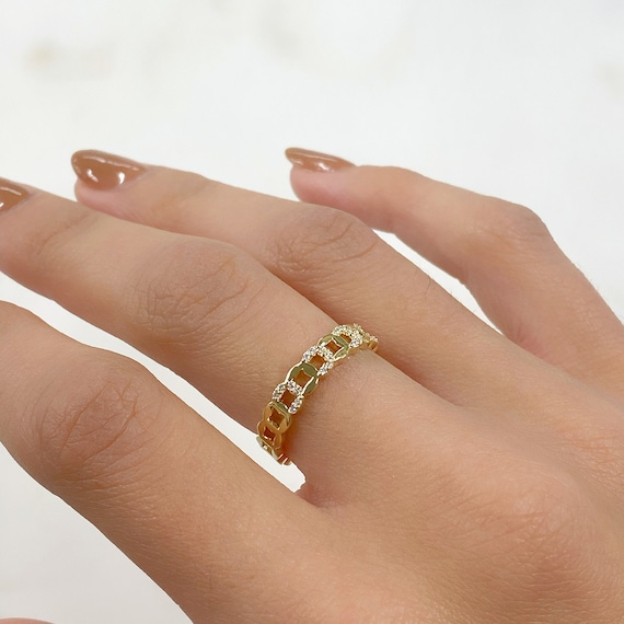 Adjustable Chain Link Style Ring CZ Gold Plated Stackable Ring