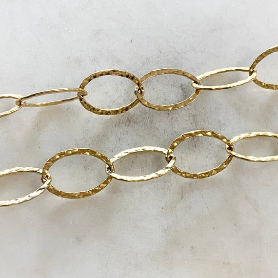 Large Oval Textured Hammered 14K Gold Filled Chain 19.5mm x 13mm Sold by the Foot/ Bulk Unfinished Chain