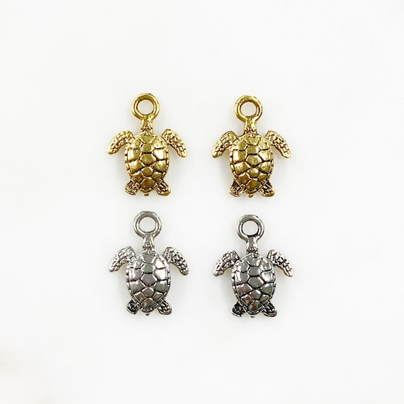 2 Piece Pewter Sea Turtle Charm Beach/Ocean Charm Choose Your Color Antique Gold or Antique Silver