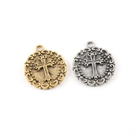 Pewter Base Metal Raised Cross Coin Charm with Swirl Edge Pendant Religious Spiritual Catholic Christianity Necklace Charm