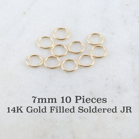 10 Pieces 7mm 19 Gauge 14K Gold Filled Soldered Closed Jump Rings Charm Links Jewelry Making Supplies Gold Findings