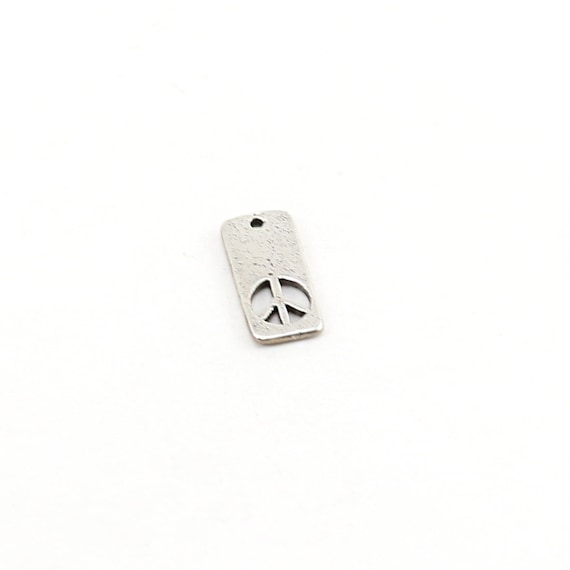 Sterling Silver Peace Sign Cut Out Rectangle Charm Hippie Love 60's Charm