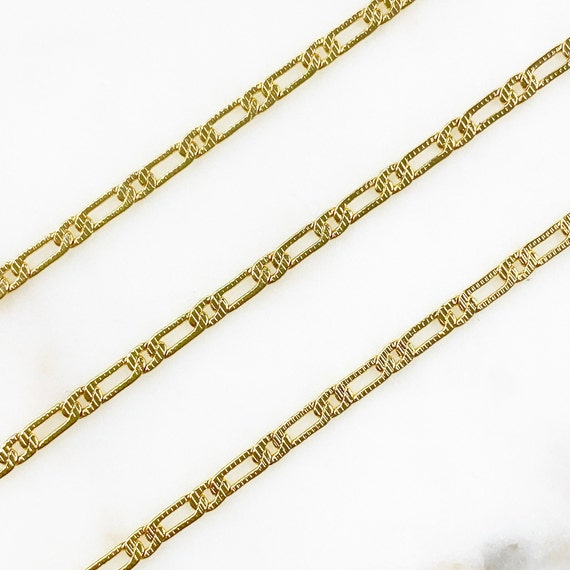 Unique Gold Plated Base Metal Textured Paperclip Chain Lightweight Gold Chain Sold By the Foot / Bulk Unfinished Chain