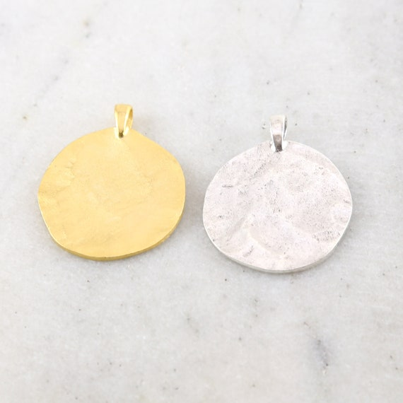 Large Textured Pewter Base Metal Hammered Stamping Blank Circle Coin Charm with Bail Pendant Gold or Silver