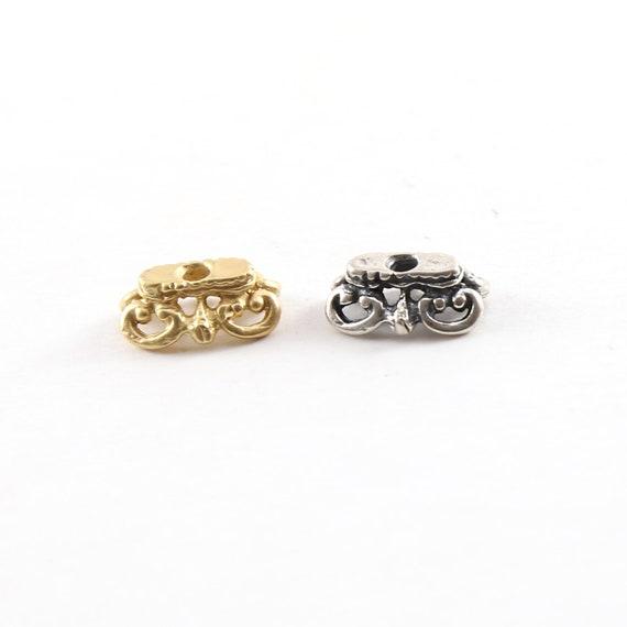 Ornate Rectangle Fancy Swirl Bead Cap Bead Pendant in Shiny Vermeil Gold or  Sterling Silver Tassel Bead Top