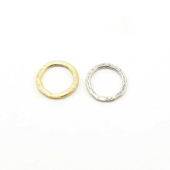 Medium Size Hammered Textured  Open Circle Connector Ring in Sterling Silver or Vermeil Gold