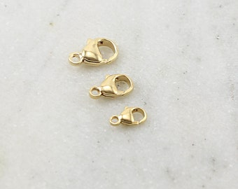 14K Gold Filled Rounded Lobster Clasp 3 Sizes Choose your Size 9mm,  11mm, 13mm Jewelry Making Supplies Chain Findings Durable Thick Sturdy