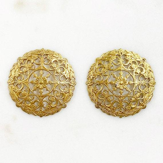 2 Piece Filigree Round Raw Brass Wire Tracery Design Unique Jewelry Making Supplies