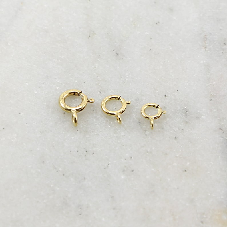 5mm Jewelry Making Supplies Chain Findings 10 Pieces 14K Gold Filled Closed Spring Ring 3 Sizes Choose your Size 7mm 6mm