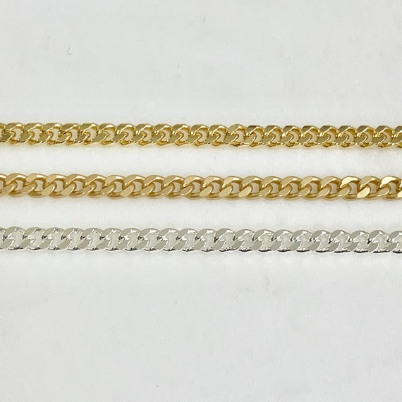 Gold or Silver Plated Base Metal Chain Small Faceted Diamond Cut Curb Chain Openable Links Chain by the Foot/ Bulk Unfinished Chain