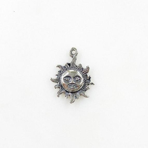 Smiling Sun Sunshine Large Star Celestial Summer Pendant in Sterling Silver