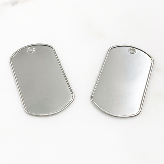 2 Piece Stainless Steel Dog Tag Raised Border Dog Tag Pendant Stamping Blank Charm Easy to Engrave Arts and Crafts Jewelry Making Charm