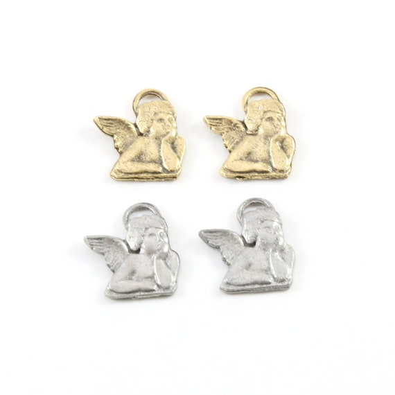 2 Pieces Pewter Pondering Angel Charm Religious Pendant Inspirational Pendant Antique gold, Antique silver