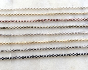 2mm Base Metal Small Delicate Rolo Chain 8 Finishes / Chain By the Foot