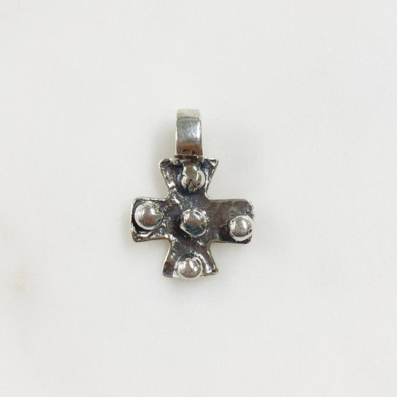 Sterling Silver Thick Hammered Medieval Cross Charm 1 Piece Unique Hammered Cross