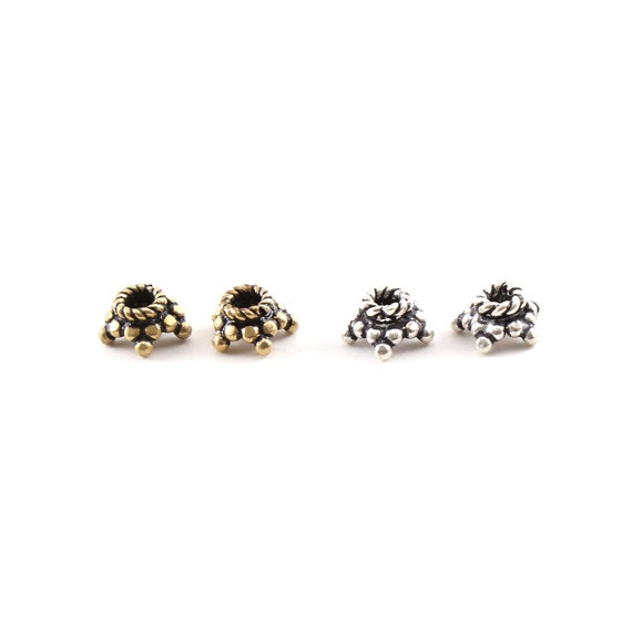 2 Pieces Bali Style Star Daisy Flower Bead Cap Spacer Bead Pendant in Sterling Silver or Vermeil Nature Floral Bead