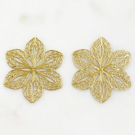 2 Piece Filigree Raw Brass Wire Tracery Medallion Unique Jewelry Making Supplies