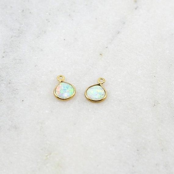 Small Opal Teardrop Gold Vermeil Drop Bezel Charm 7mm x 9mm