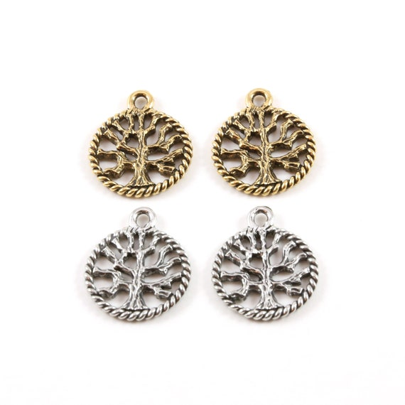 2 Pieces Small Tree of Life Silhouette Family Oak Tree Pewter Pendant Nature Coin Circle Medallion Charm Antique Silver, Antique Gold