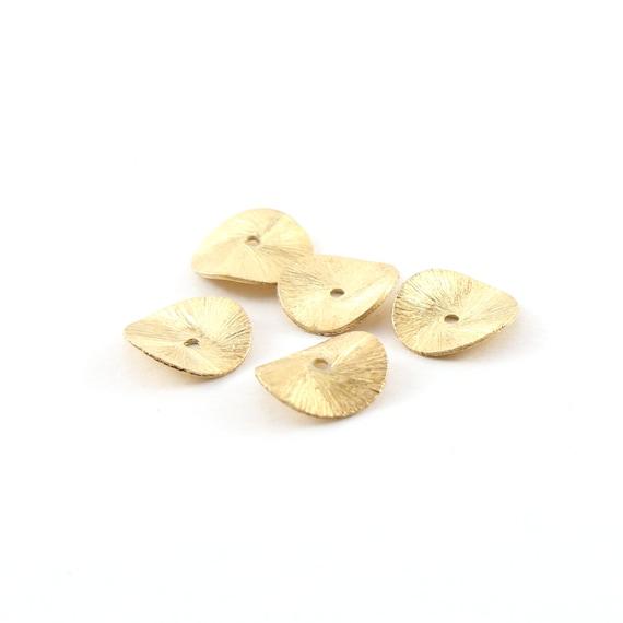 5 Pieces 12mm Vermeil Wavy Disc Rondelle Bead Potato Chip Spacer Beads