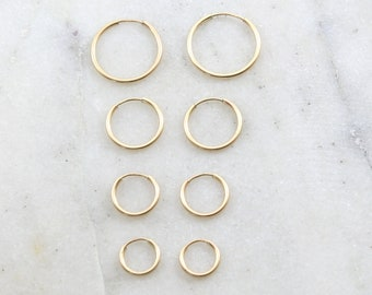 1 Pair 14K Gold Filled Small Endless Hoop Earrings 16mm, 14mm, 12mm ,10mm Earring Wires Earring Hook Component