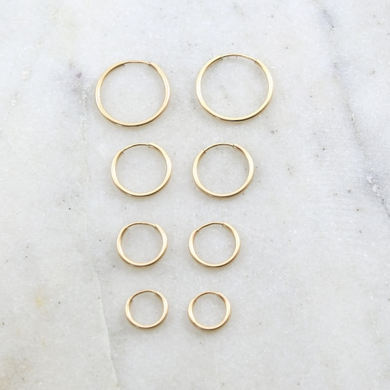 1 Pair 14K Gold Filled Small Endless Hoop Earrings 16mm, 14mm, 12mm ,10mm Earring Wires Earring Hook Component