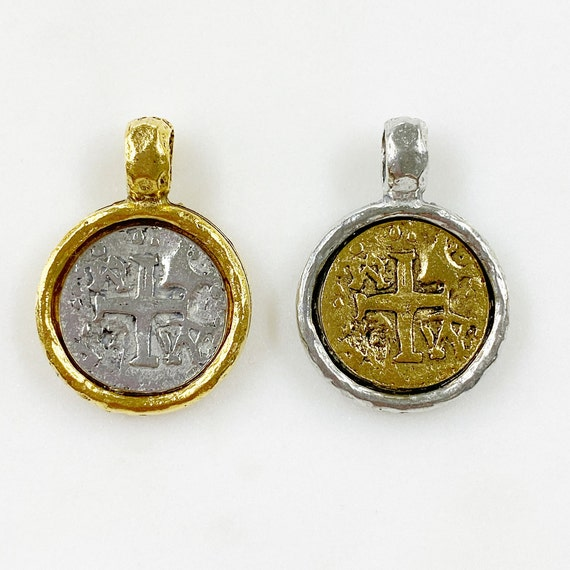 Medieval Double Sided Cross Coin Pendant Charm Pewter Base Metal Silver and Gold Pendant Religious Spiritual Catholic Christianity Necklace