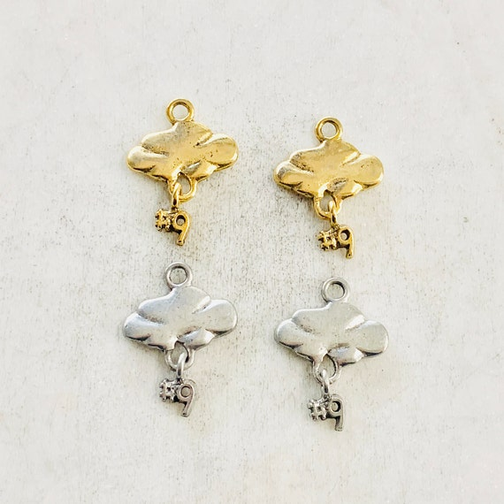 2 Pieces Pewter Unique Cloud 9 Charm With Number 9 Hanging  Cloud Nine Charm Pendant Happiness Charm  Antique Gold, Antique Silver