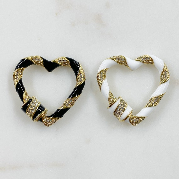 Large Heart Shaped Enamel Carabiner Cubic Zirconia Detail Gold Plated Clasp Choose Your Color Black or White
