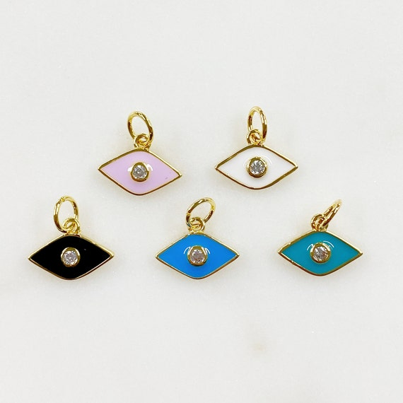 Dainty Gold Plated Evil Eye Protector Charm With CZ Eye Choose Your Color Black, Pink, Blue, White, Turquoise