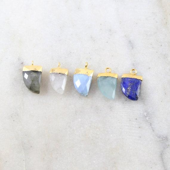 Beautiful Gemstone Curved Point Horn Charm 1 Loop Pendant Drop Charm / Vermeil / Lapis, Labradorite, Moonstone, Aqua, Pacific Opal
