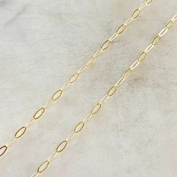 5.7mm x 2.8mm 14K Gold Filled Chain Flat Hammered Oval Cable Chain Sold by the Foot/ Bulk Unfinished Chain