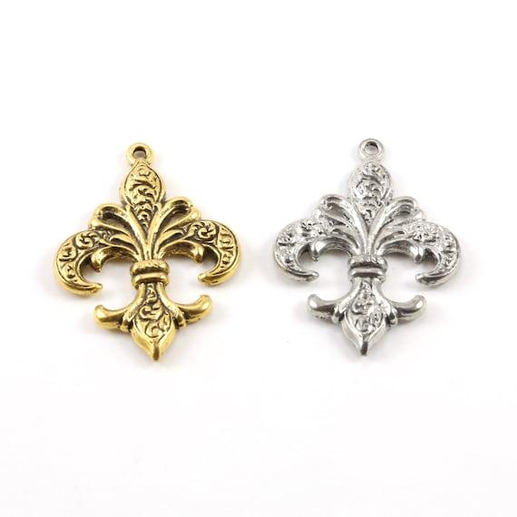 Fleur De Lis Swirl Design Pendant Pewter Necklace Charm 27mm x 39mm in Antique Gold or Antique Silver