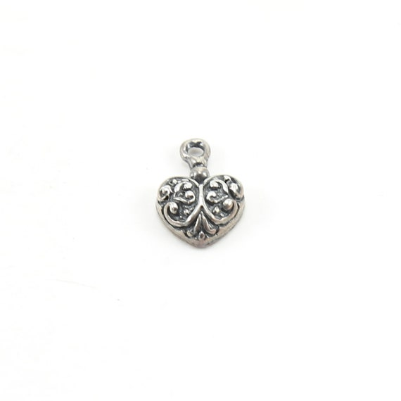 Small Ornate Curly Swirl Sterling Silver Heart Charm Love Sisters Mother Daughter Pendant