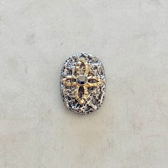 Unique Pewter Base  Metal Textured Modern Cross Oval Shape Gold Cross with Rhinestone in Center Spiritual Catholic Christianity Charm