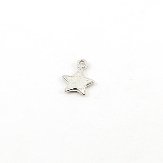 Sterling Silver Small Organic Shape Whimsical Flat Solid Star Charm Celestial Pendant