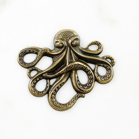 Extra Large Brass Octopus Sea/Ocean Animals Jewelry Making Supplies Arts And Crafts Supplies