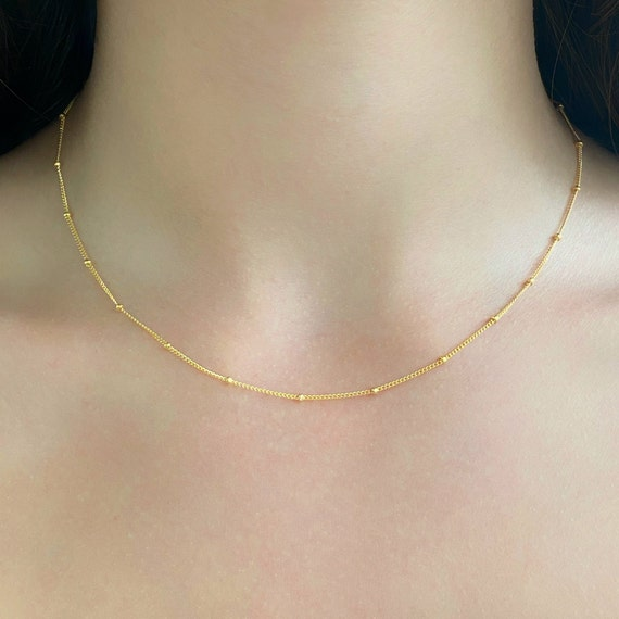 Ready to Wear 14k Gold Filled Satellite Chain Necklace, Thin Dainty Necklace Chain with Tiny Ball Beads