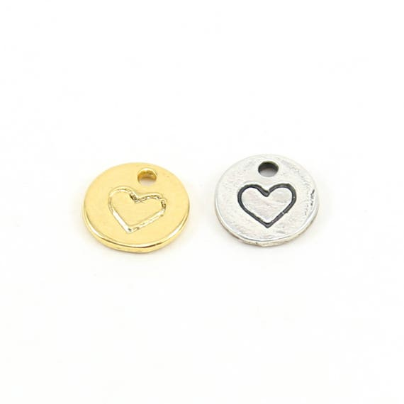 Tiny Heart Stamped Coin Round Disk Charm in Sterling Silver or Vermeil Gold Love Valentine's Day Friendship Pendant
