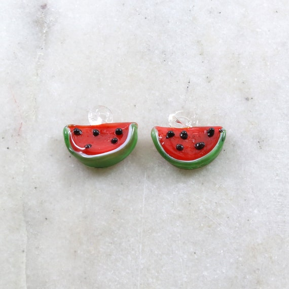 2 Pieces Red Glass Watermelon Charm Juicy Fruit Charm Cute Glass Charm Food Pendant