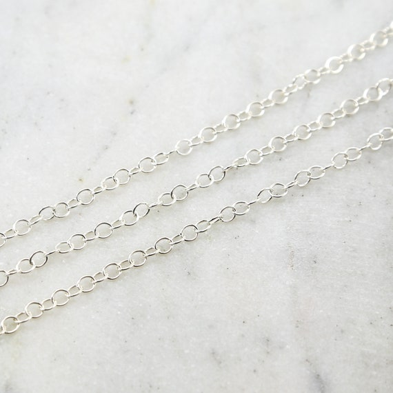 4mm Thick Round Sterling Silver Smooth Link Chain Extender Chain  / Sold by the Foot / Bulk Unfinished Chain