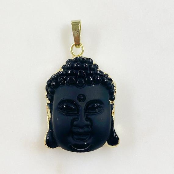 Buddha Pendant Charm Wrapped In Gold Plating Semi Matte Black Stone
