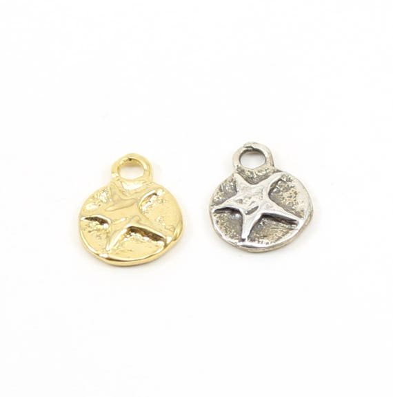 Celestial Star Coin Disk Charm Sterling Silver or Vermeil Gold Constellation Pendant