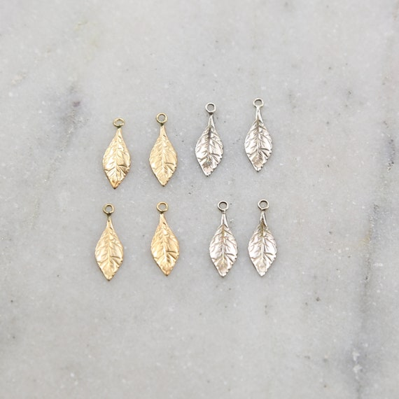 4 Pieces Thin Delicate Detailed Leaf Charm in Sterling Silver and 14K Gold Filled Lightweight Charm Pendant