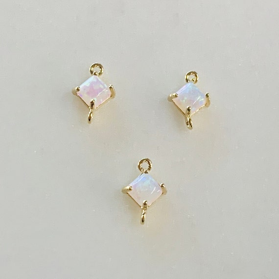 1 Piece Tiny Square Opal Connector Gold Plated Dainty Bezel  9mm x  6mm Gold Rimmed Gemstone Connector